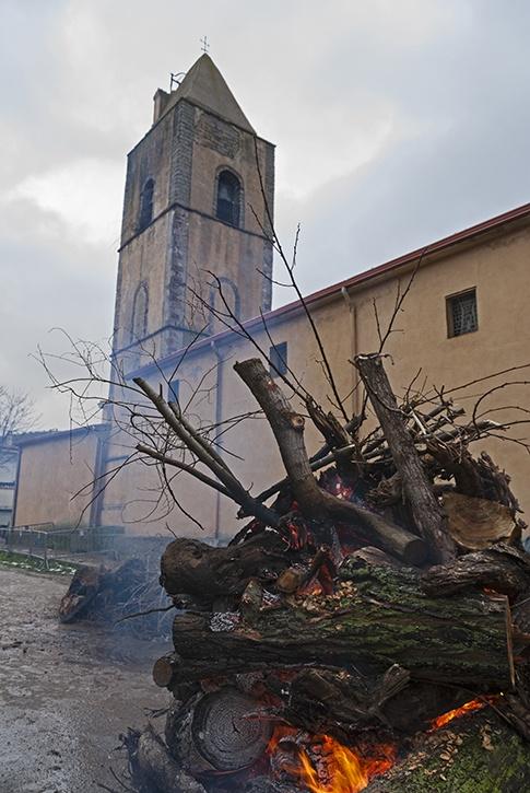 Church with bonfire sardinia