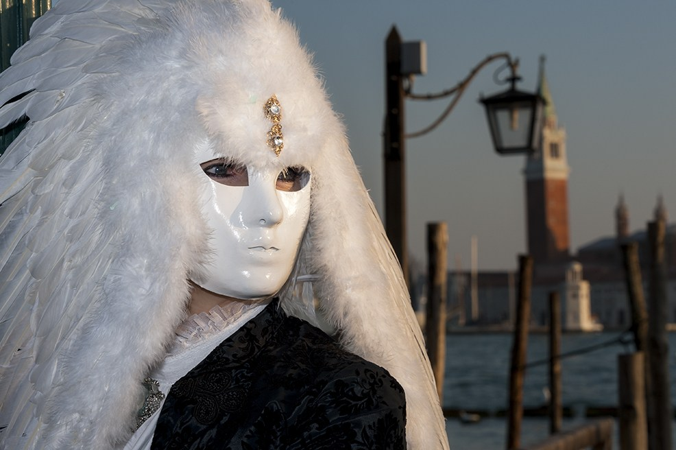 venice carnival White Feathers