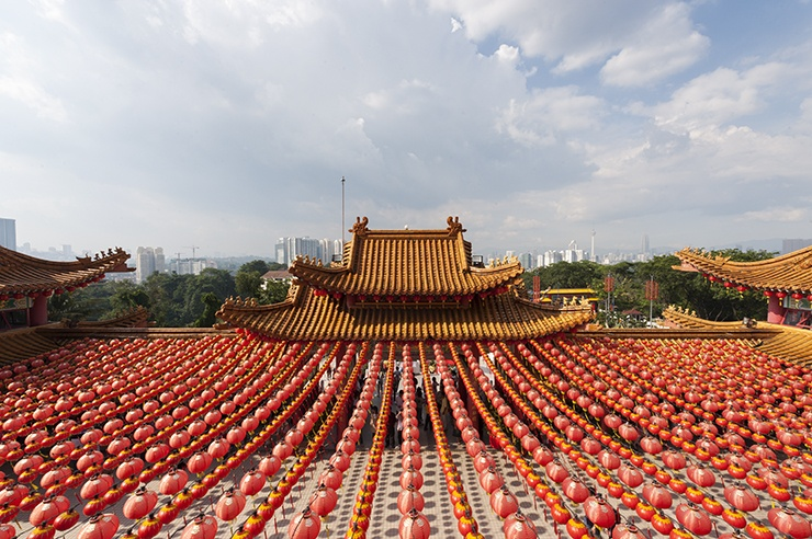 Kuala Lumpur Thean Hou Temple with Red Lanterns