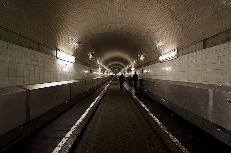 Hamburg Elbe Tunnel with Family