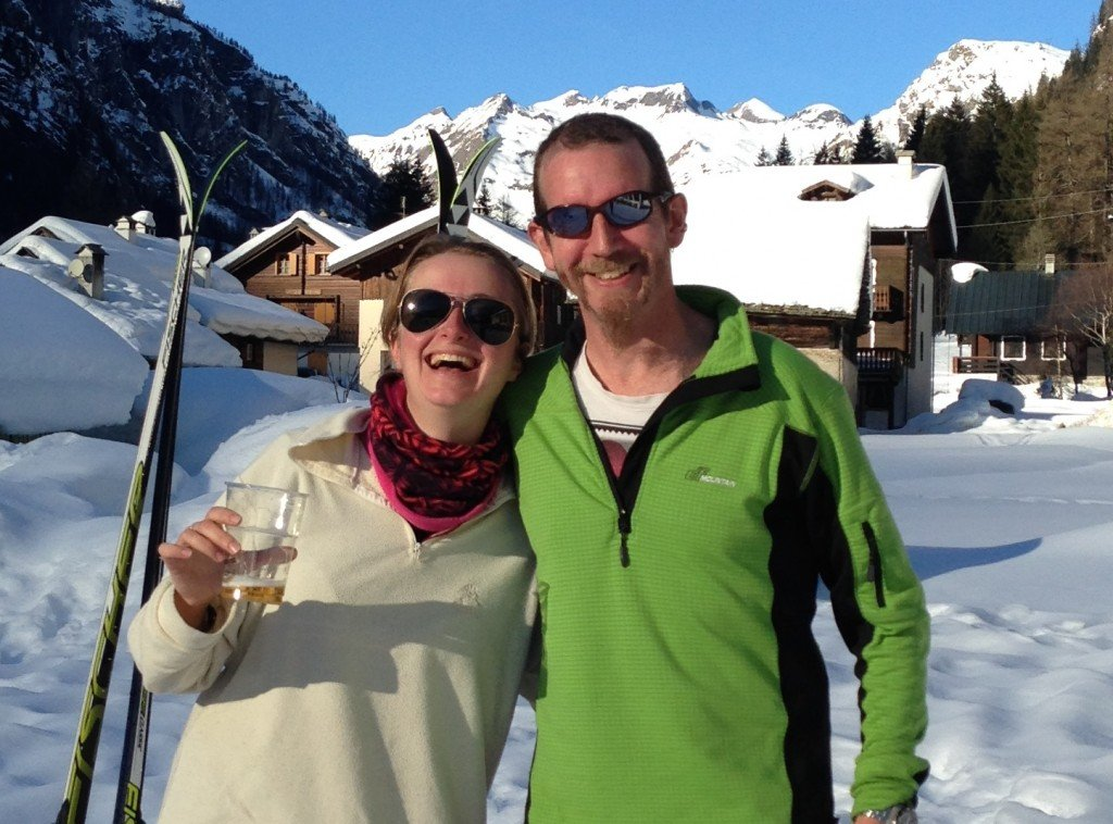 Marghe and Nick skiing