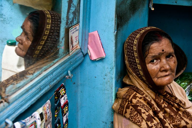Varanasi woman mirror