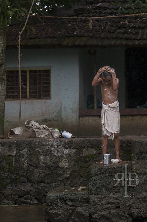 India Backwaters Boy Washing