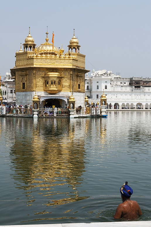 India Golden Temple with Man