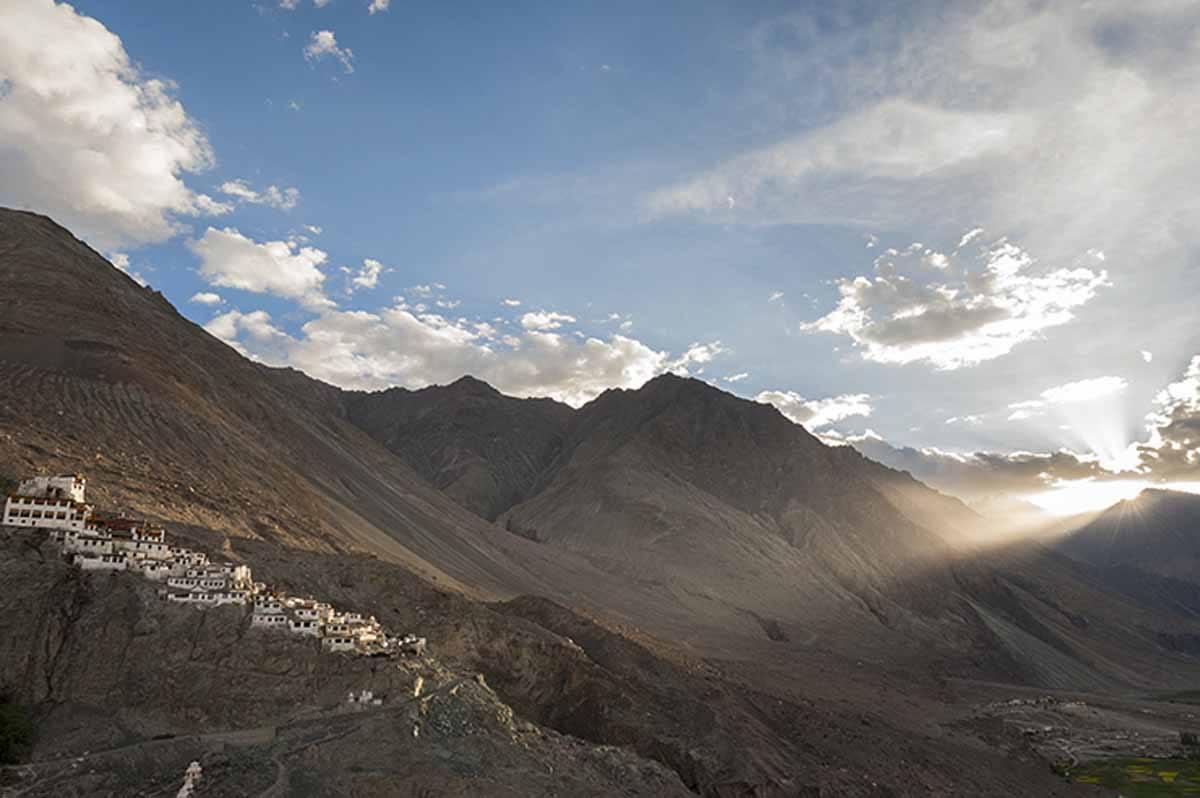 India-Nubra-Valley-monastery-Sunset