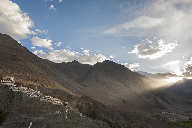 India Nubra Valley monastery Sunset