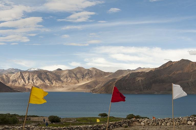India Pangong Lake with Flags