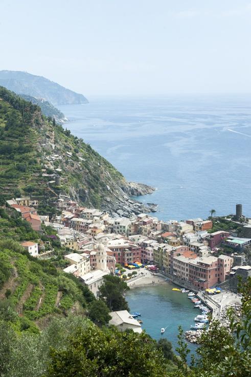 Cinque Terre by train Vernazza Above