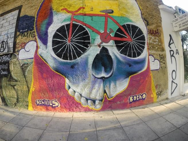 Athens street art achilles skull