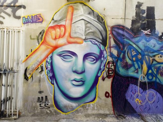 Athens street art achilles venus