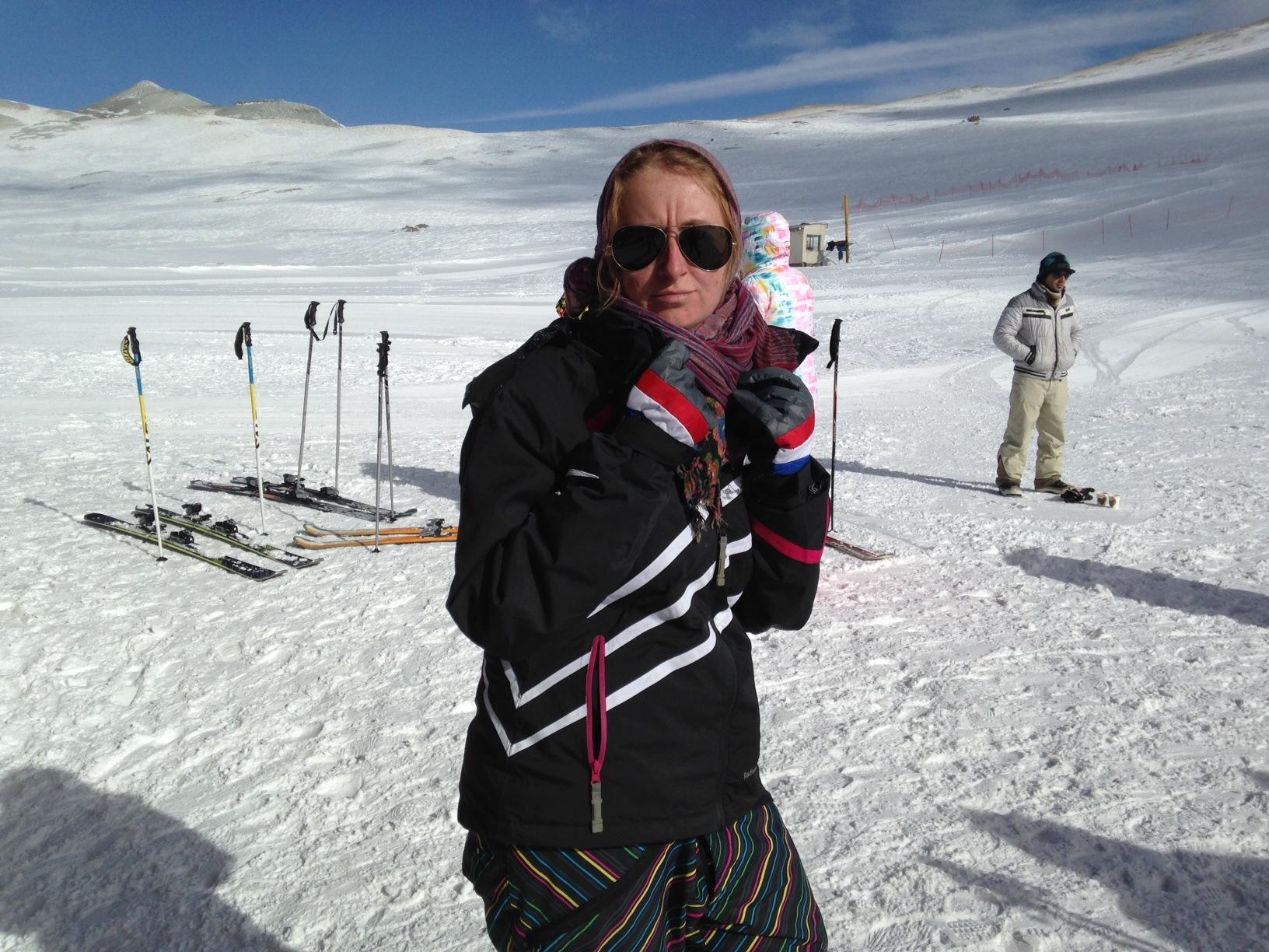 young woman tochal ski iran