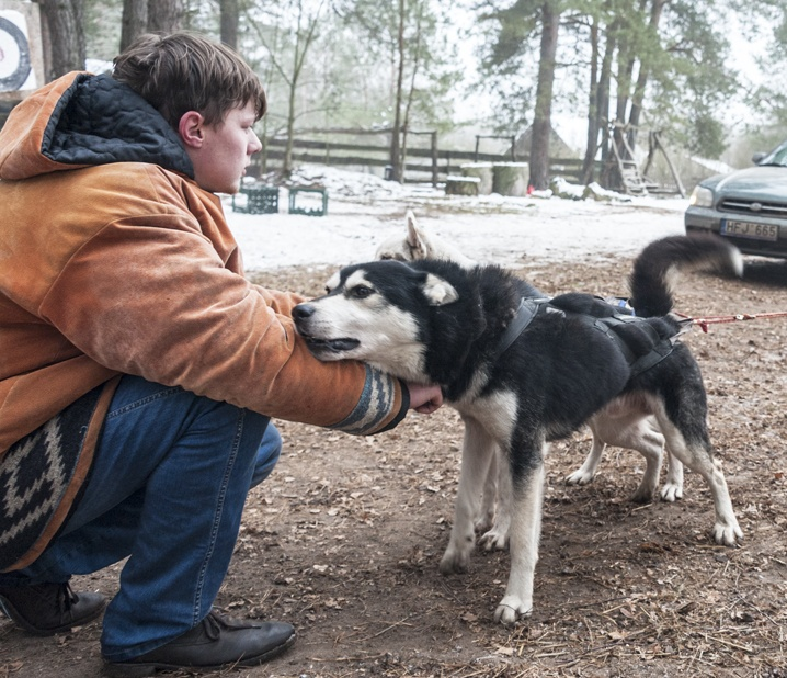 lithuania dogsledding boy with dogs