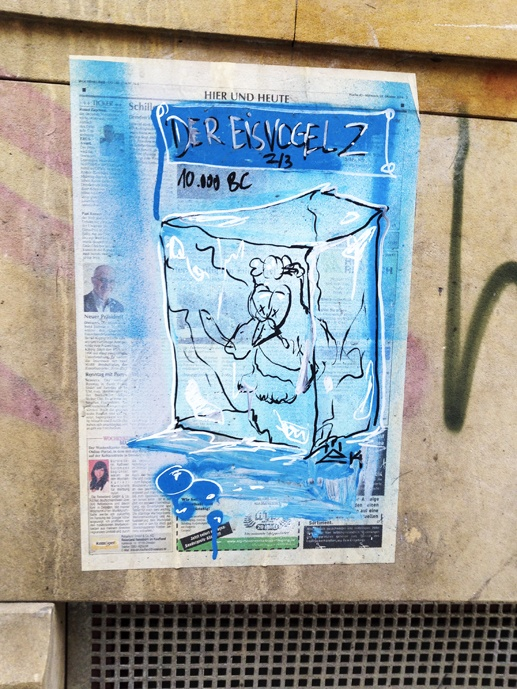 Dresden Germany street art blue newspaper