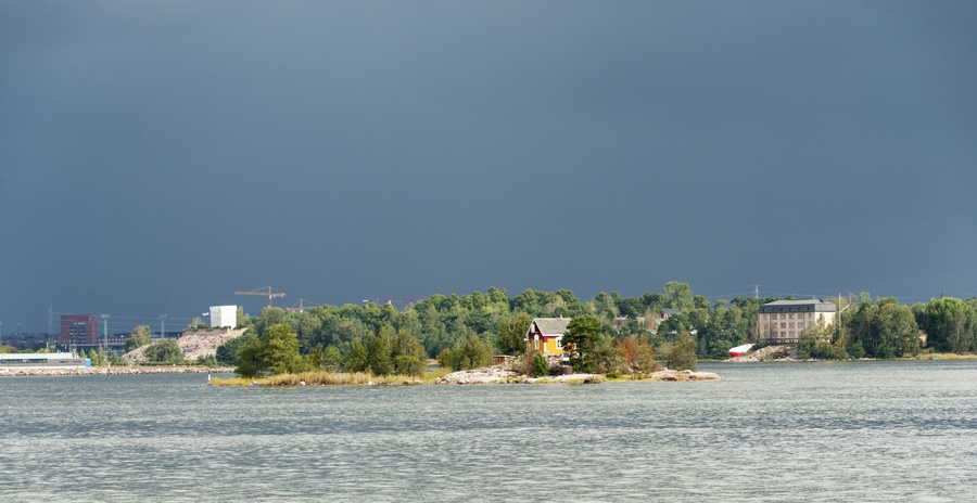 Finland Helsinki Island House stormy sky