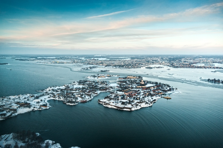 two seasons in suomenlinna winter helicopter