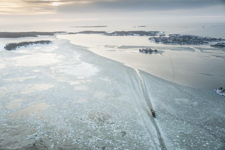 helsinki bay from helicopter winter