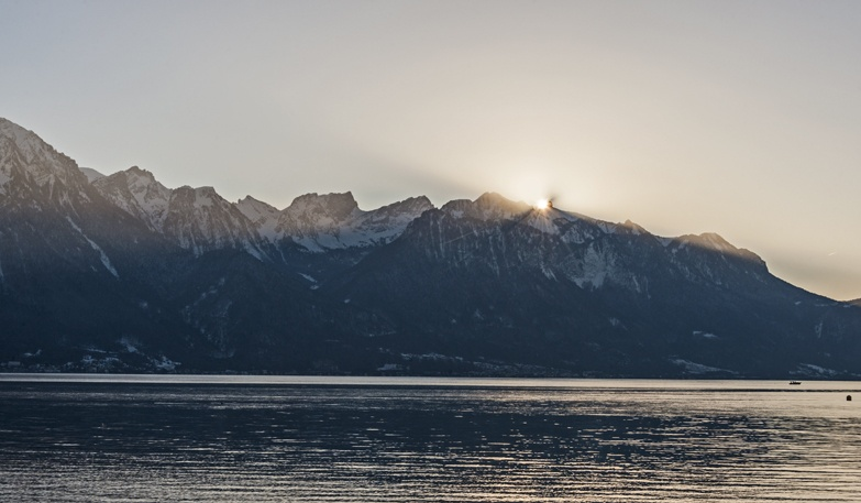 sunset behind alps montreux
