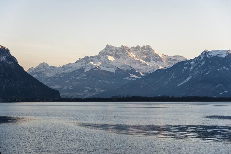 mountains lake geneva sunset