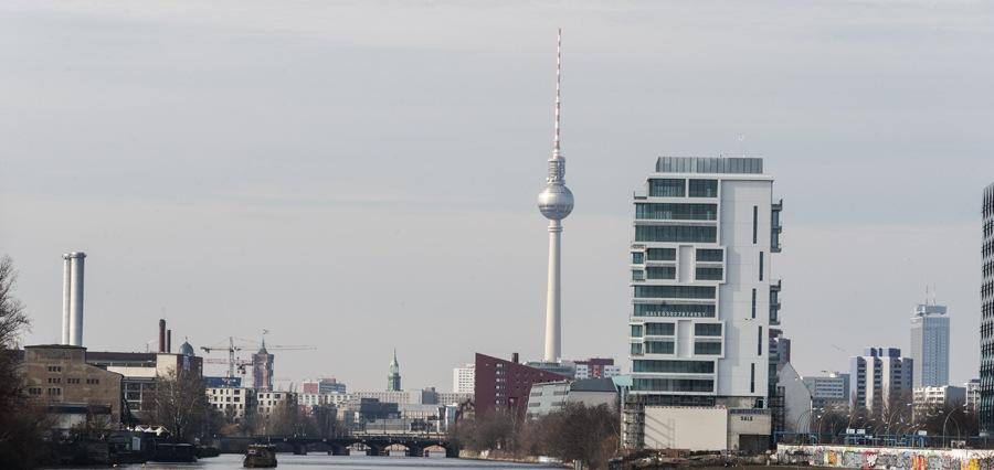berlin modern skyline from spree