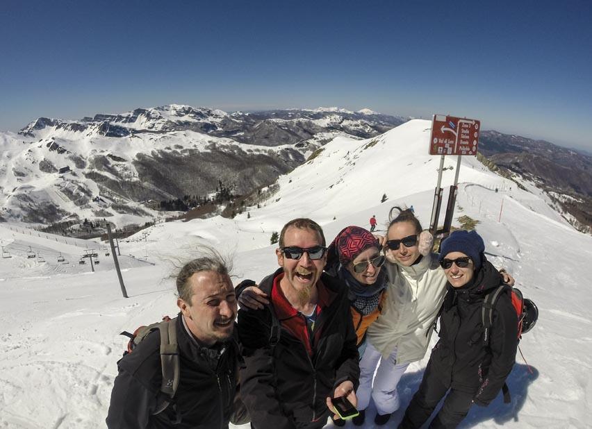 abetone ski slopes selfie