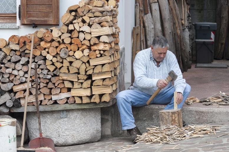 man chopping wood
