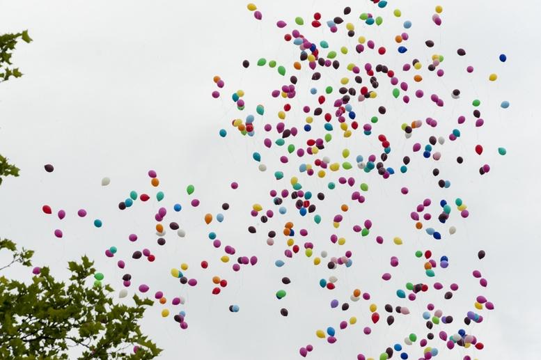 Berlin gay pride rainbow balloons