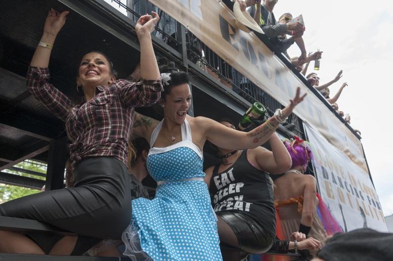 berlin pride dancers on float