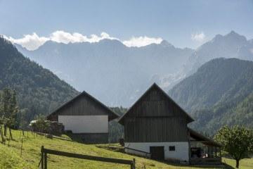 wooden houses mountains slovenia