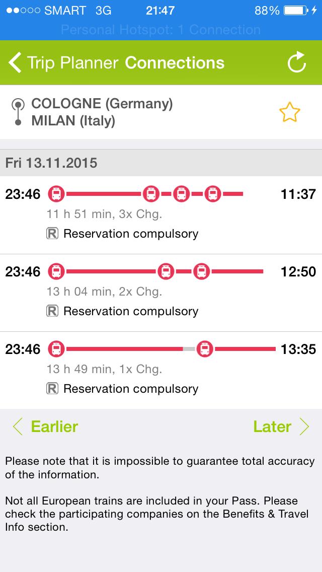 rail planner app screenshot