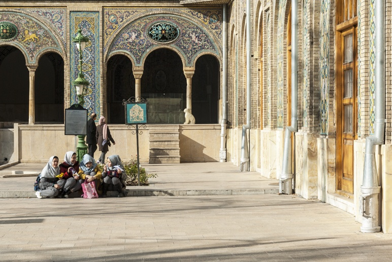 girls outside golestan palace tehran