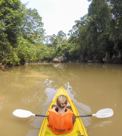 Back view kayaking borneo