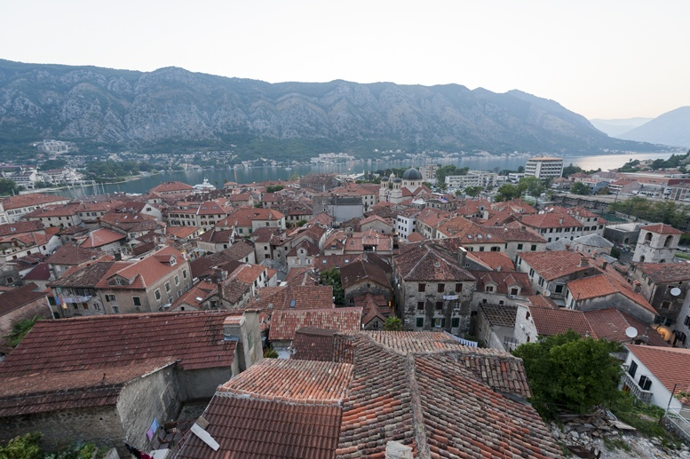 kotor old town roofs from above