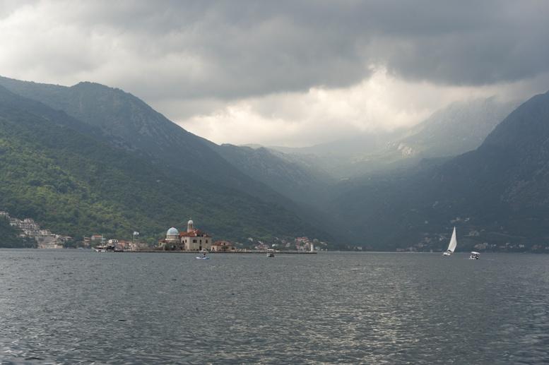 kotor bay from perast montenegro stormy