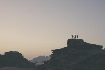 jordan wadi rum rocks people