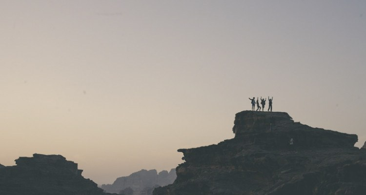 jordan wadi rum rocks people