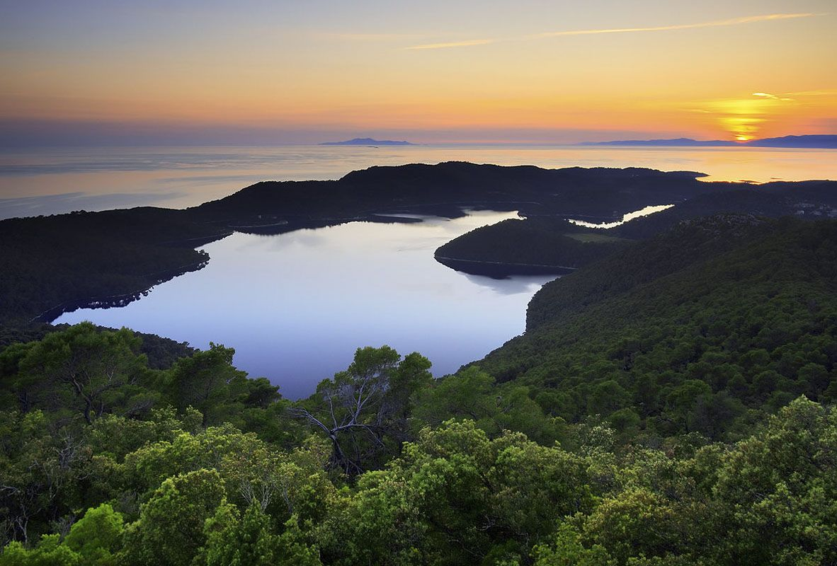mljet lake sunset