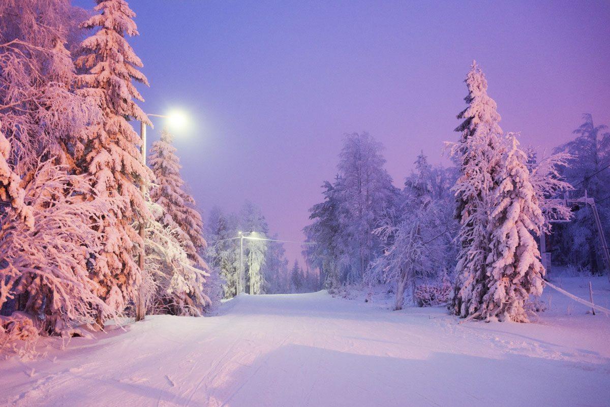 skiing in finland tahko slopes night