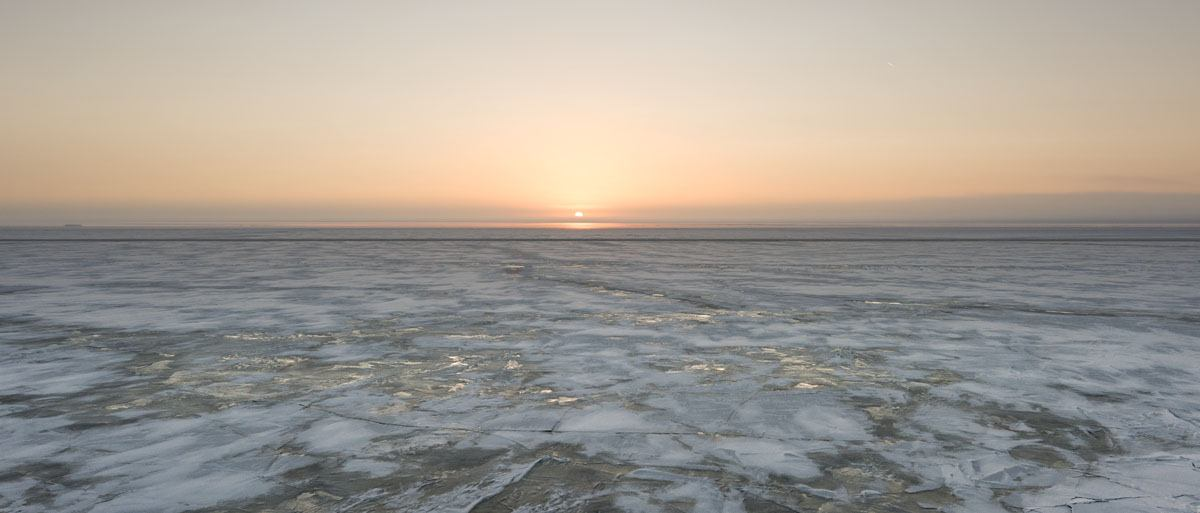 sampo icebreaker frozen sea sunrise
