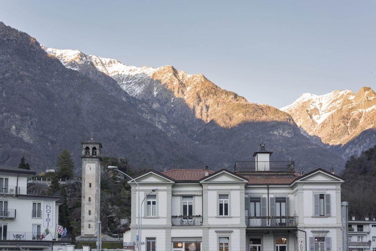 chiavenna town mountain peaks
