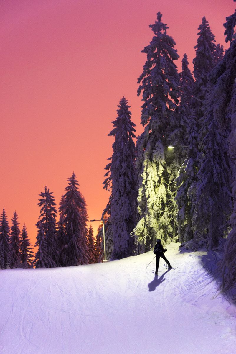 tahko finland skiing purple sunset