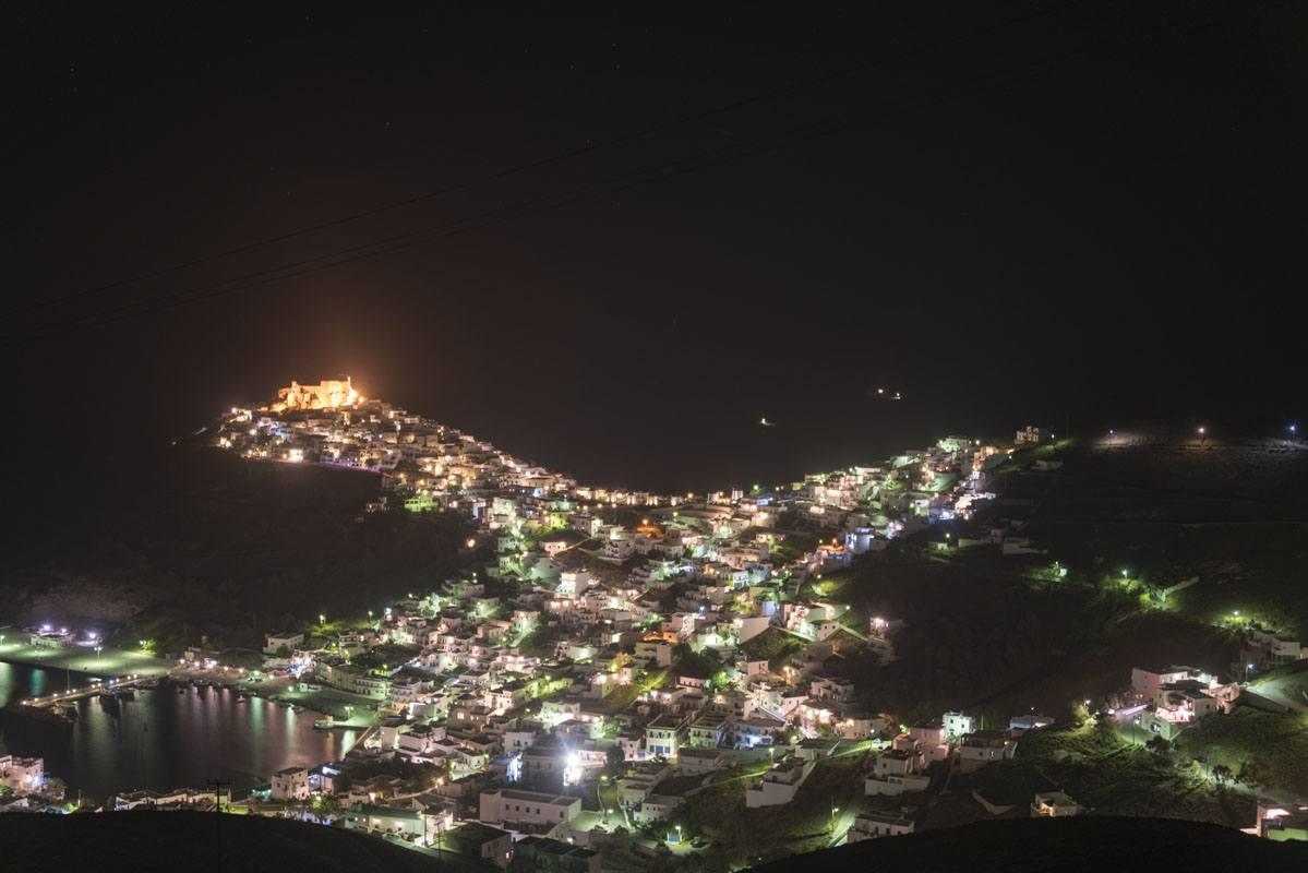chora at night astypalea