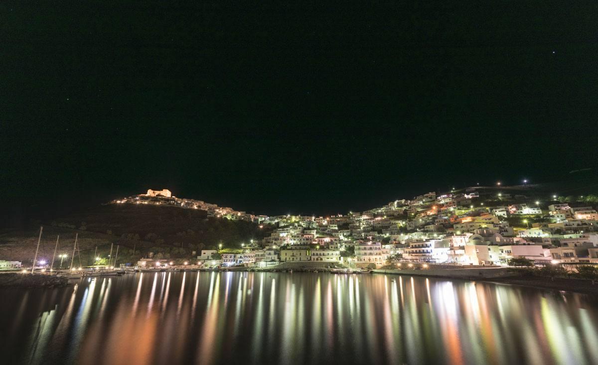 Astypalea chora night lights