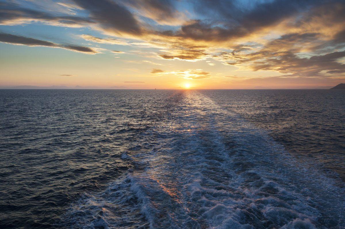 ferry sunset greek islands