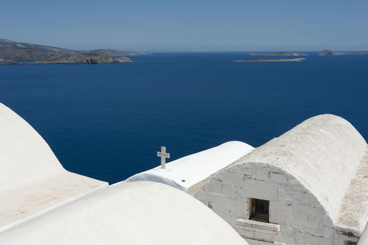 roofs sea astypalea greek islands