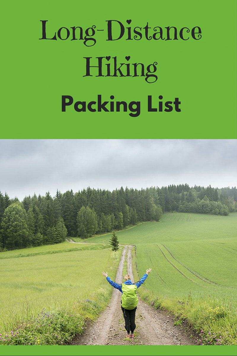 long distance hiking packing list pin