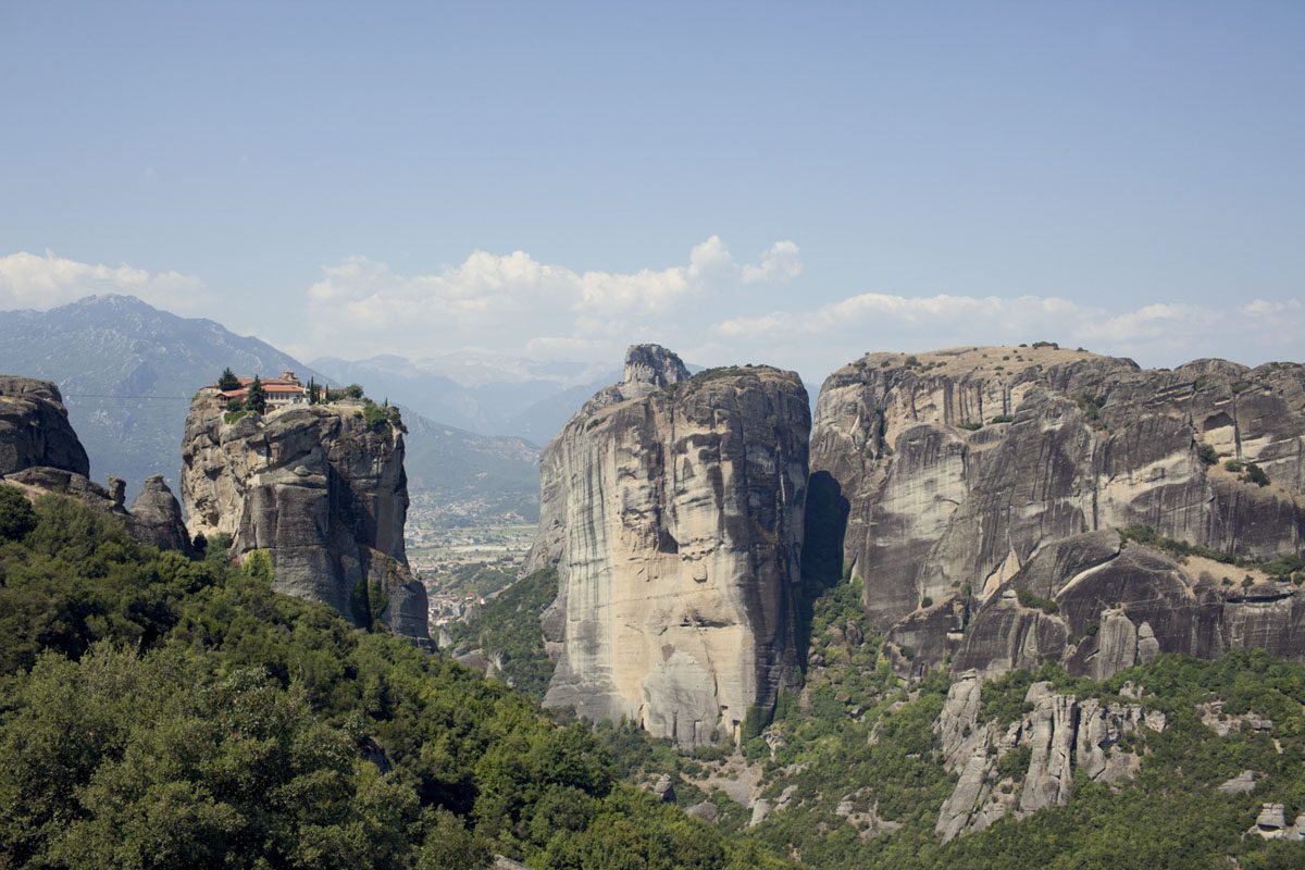 meteora rocks forest greece