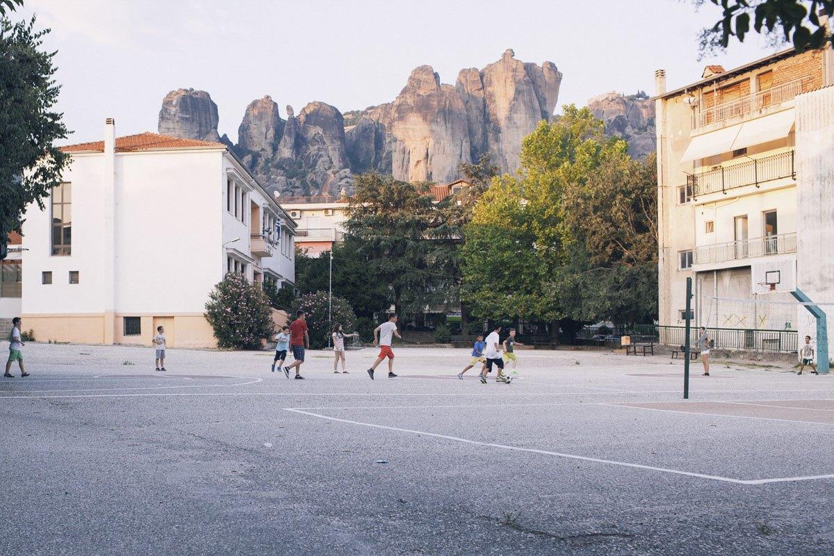 kalambaka greece playing football