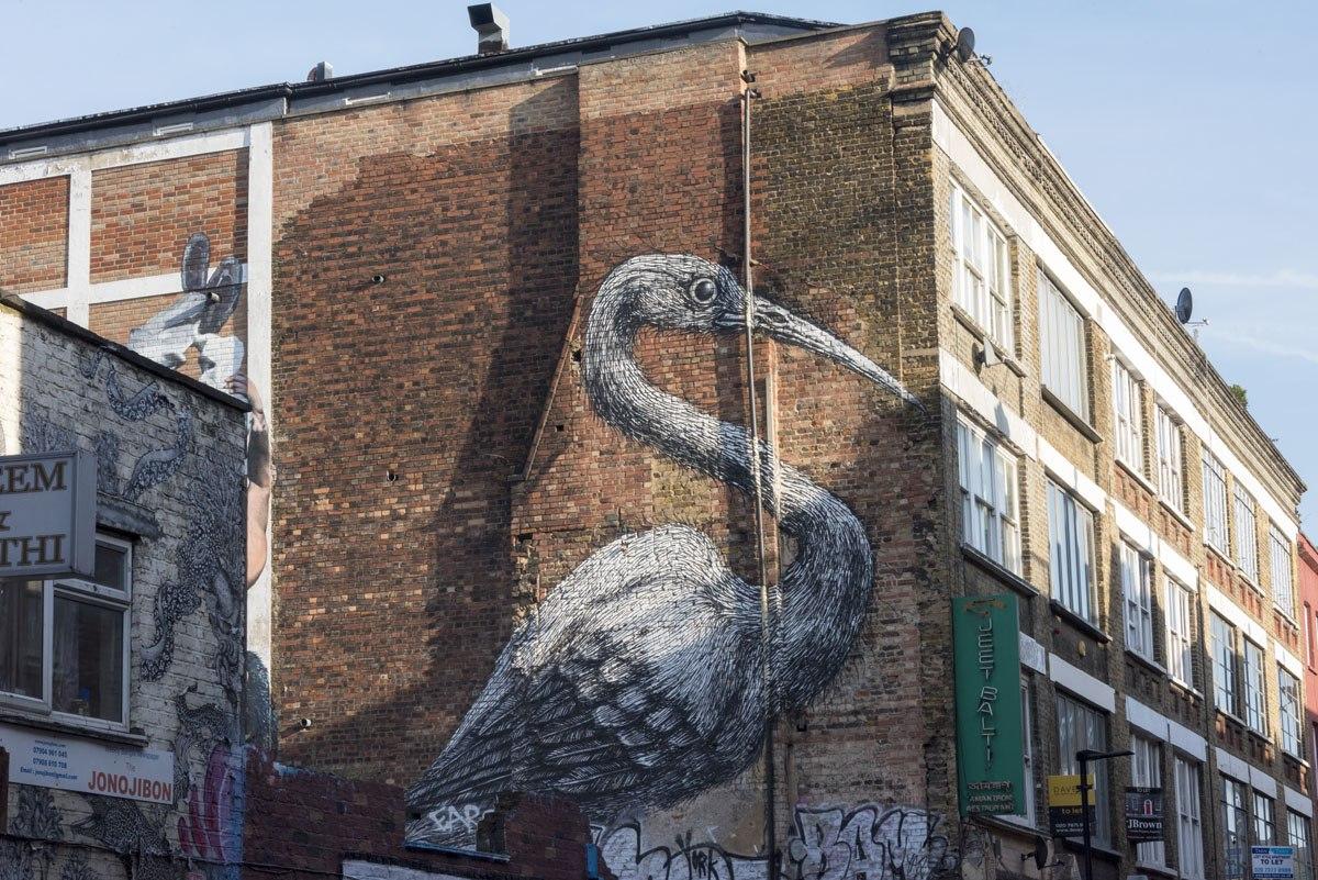 shoreditch street art roa heron