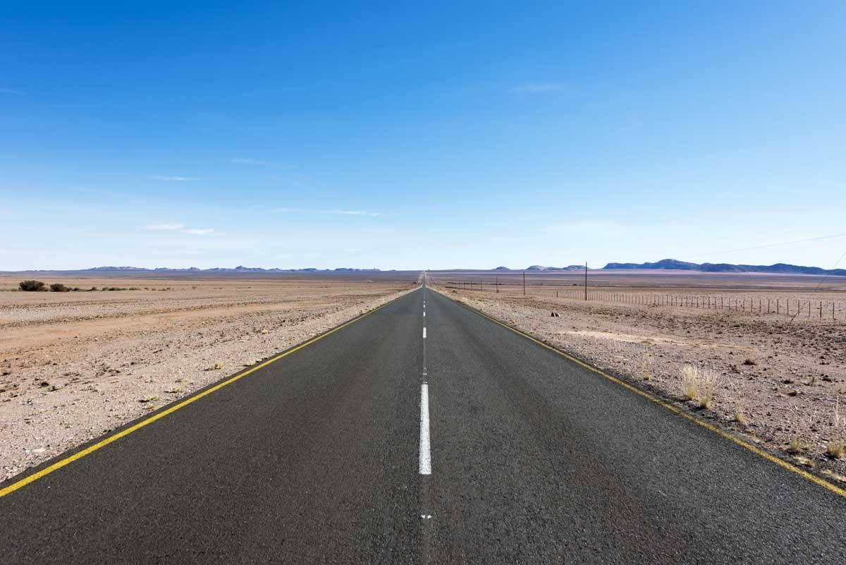 overlanding namibia road straight
