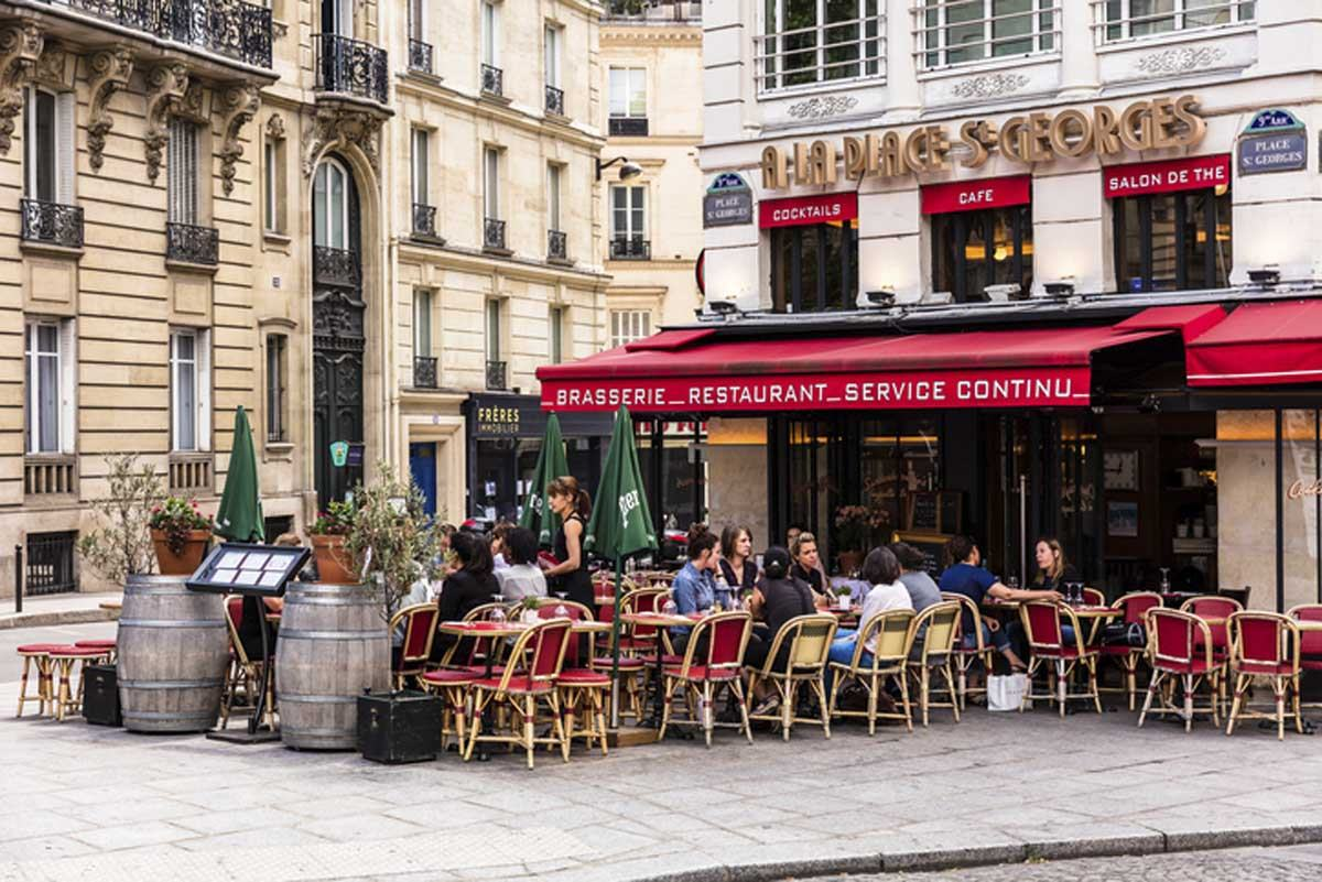 Traditional french restaurant in St.Georges Square. Paris, France